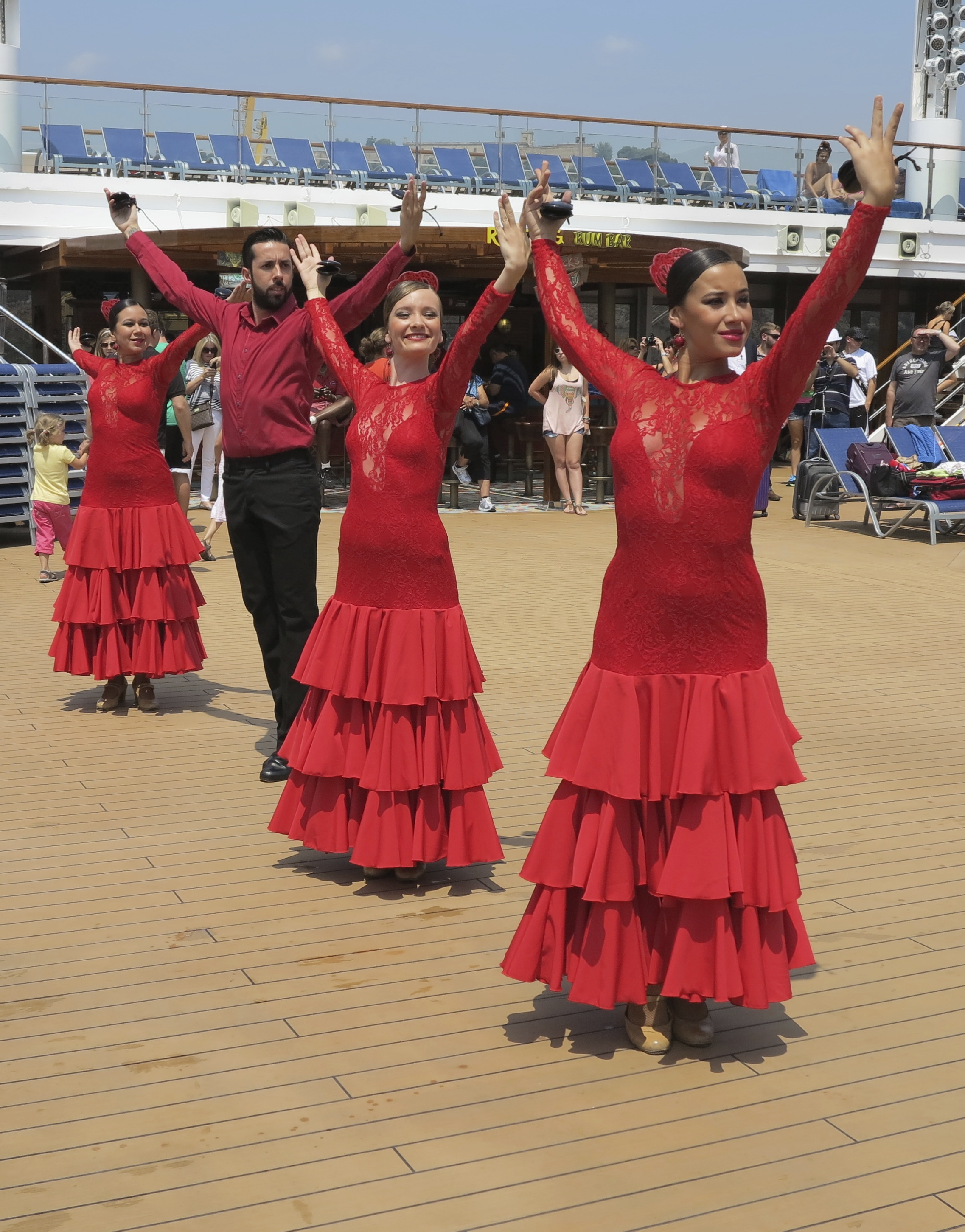 Ole! Flamenco dancers entertain on deck as we leave Barcelona