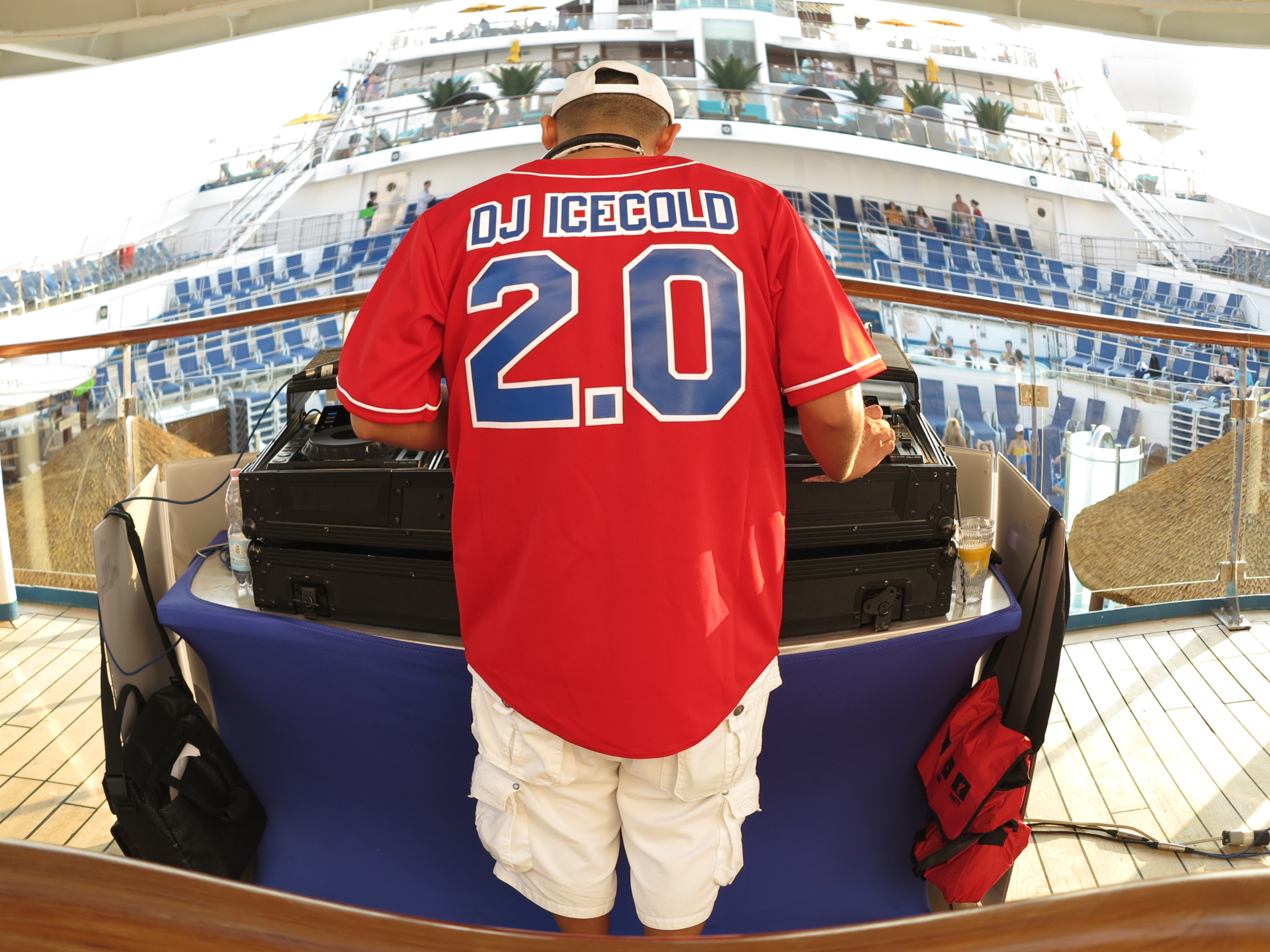 DJ Icecold on the deck(s) - photographed using fish eye lens effect