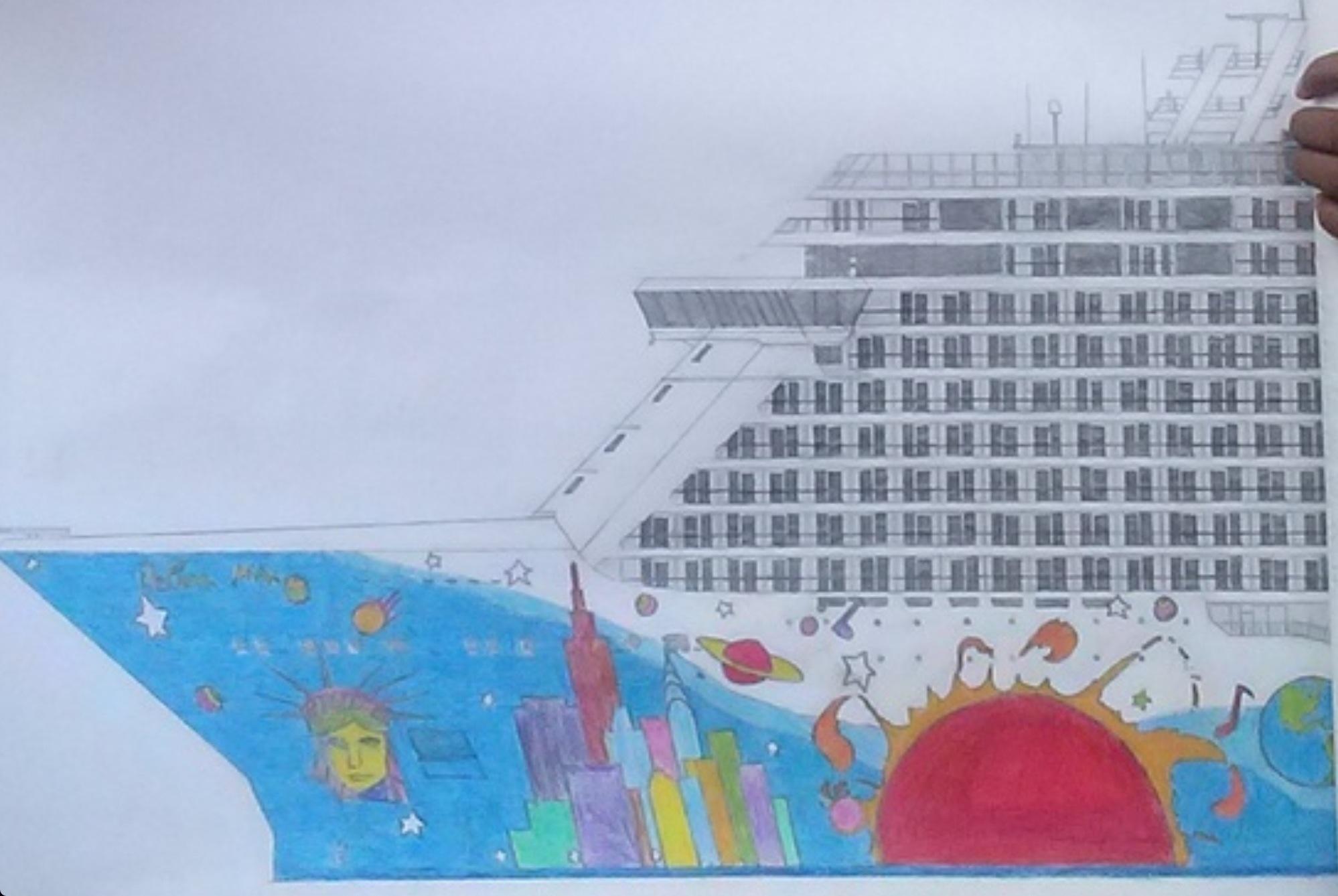 Detail from Saul's drawing of Norwegian Breakaway (Picture: Saul Tenorio Rodriguez)