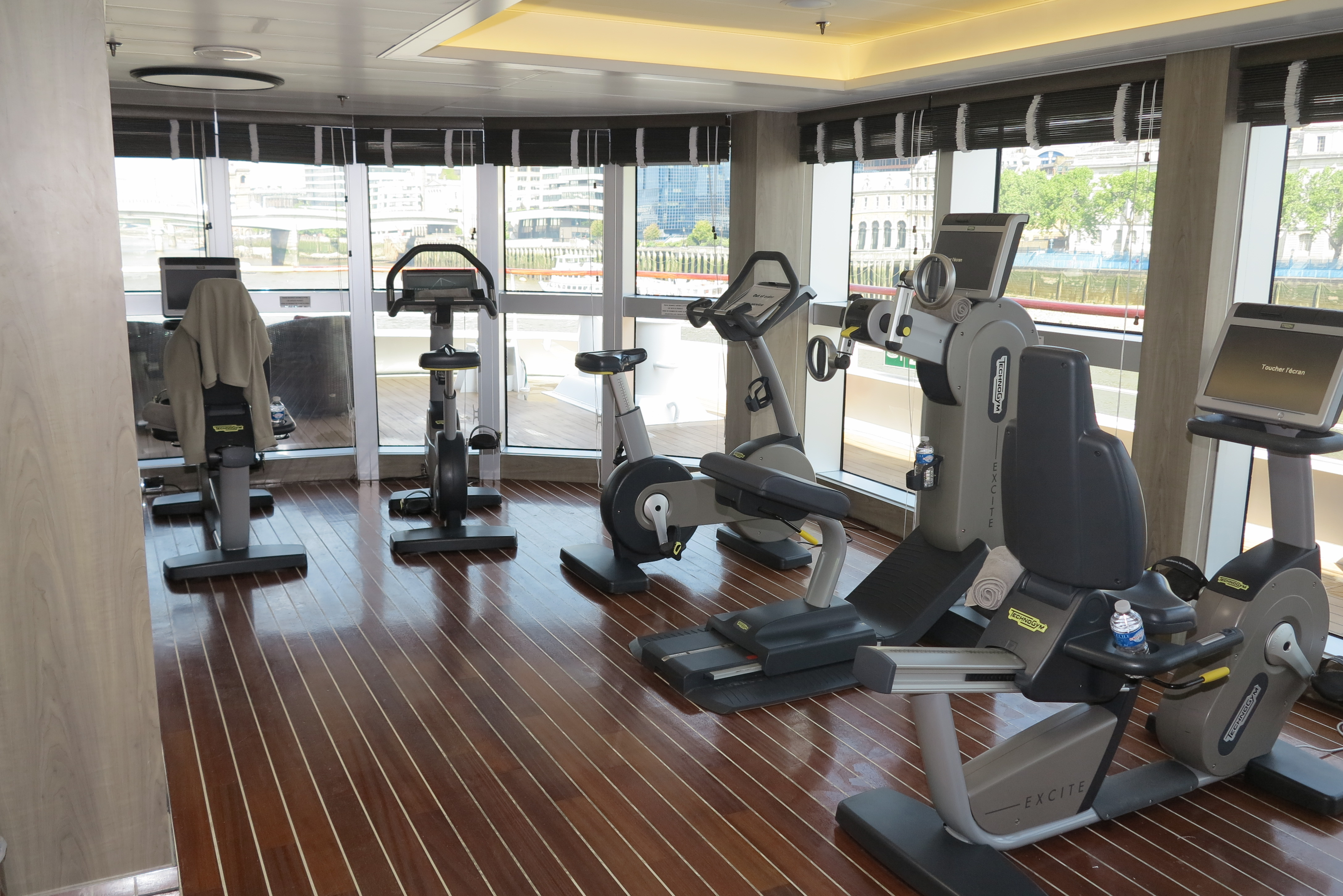 Gym calmer: The exercise room has tranquil views