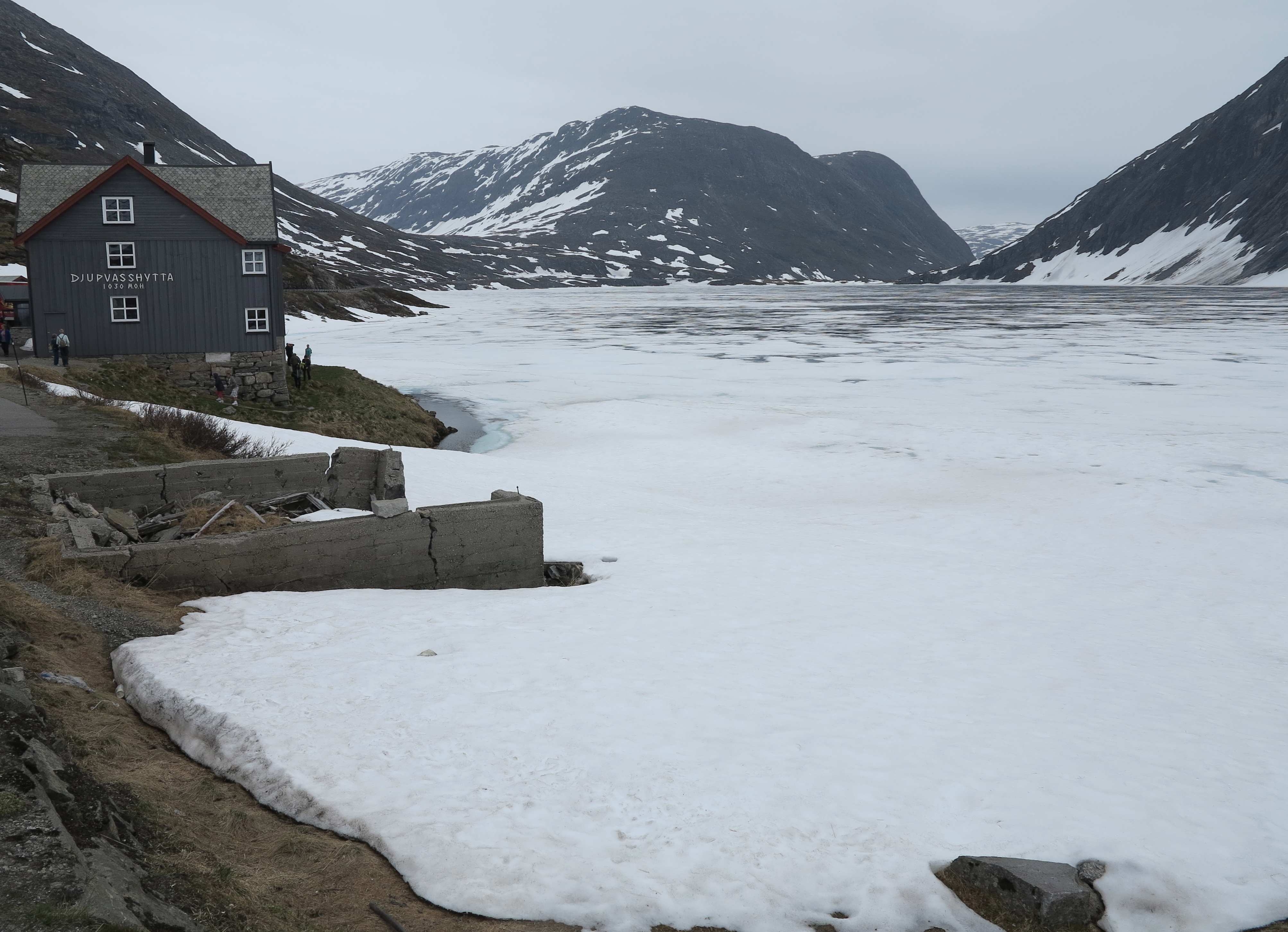 Icy welcome: Lake Djupvatn, still frozen in June