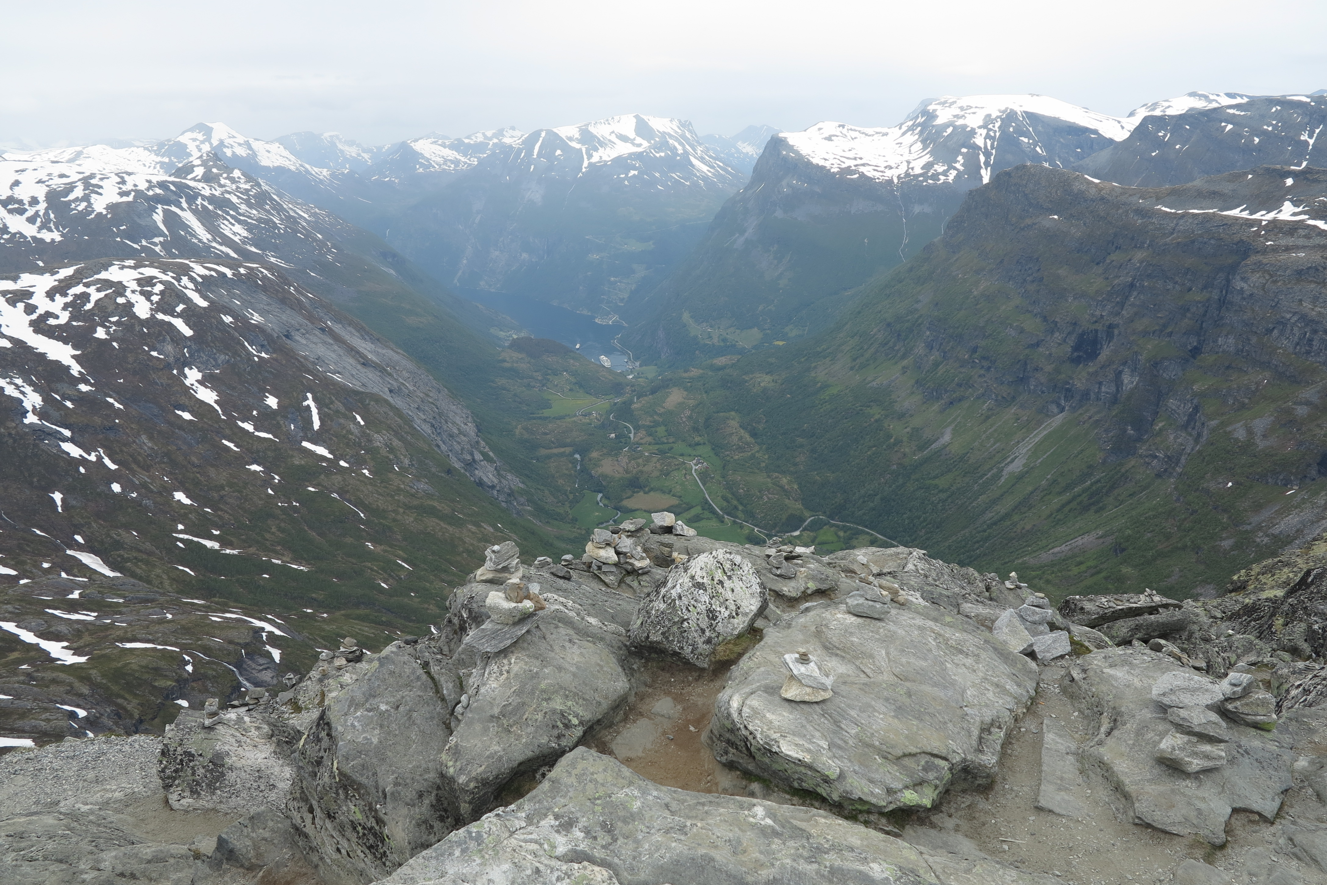 Summit worth seeing: The view from the top of Mount Dalsnibba, including a cruise ship in the fjord way below