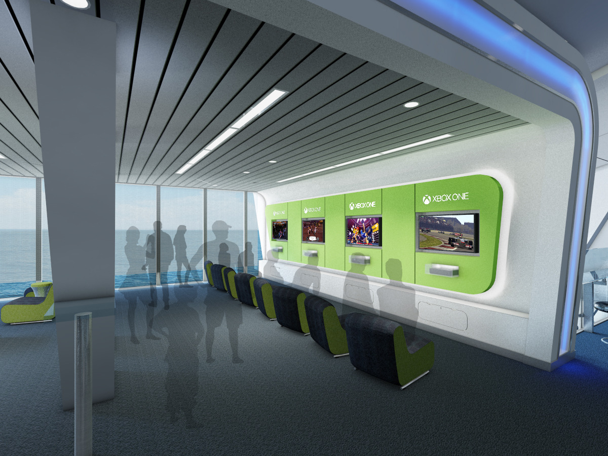 Game changer: Passengers will be able to play live Xbox games against other players across the world (Picture: Royal Caribbean)