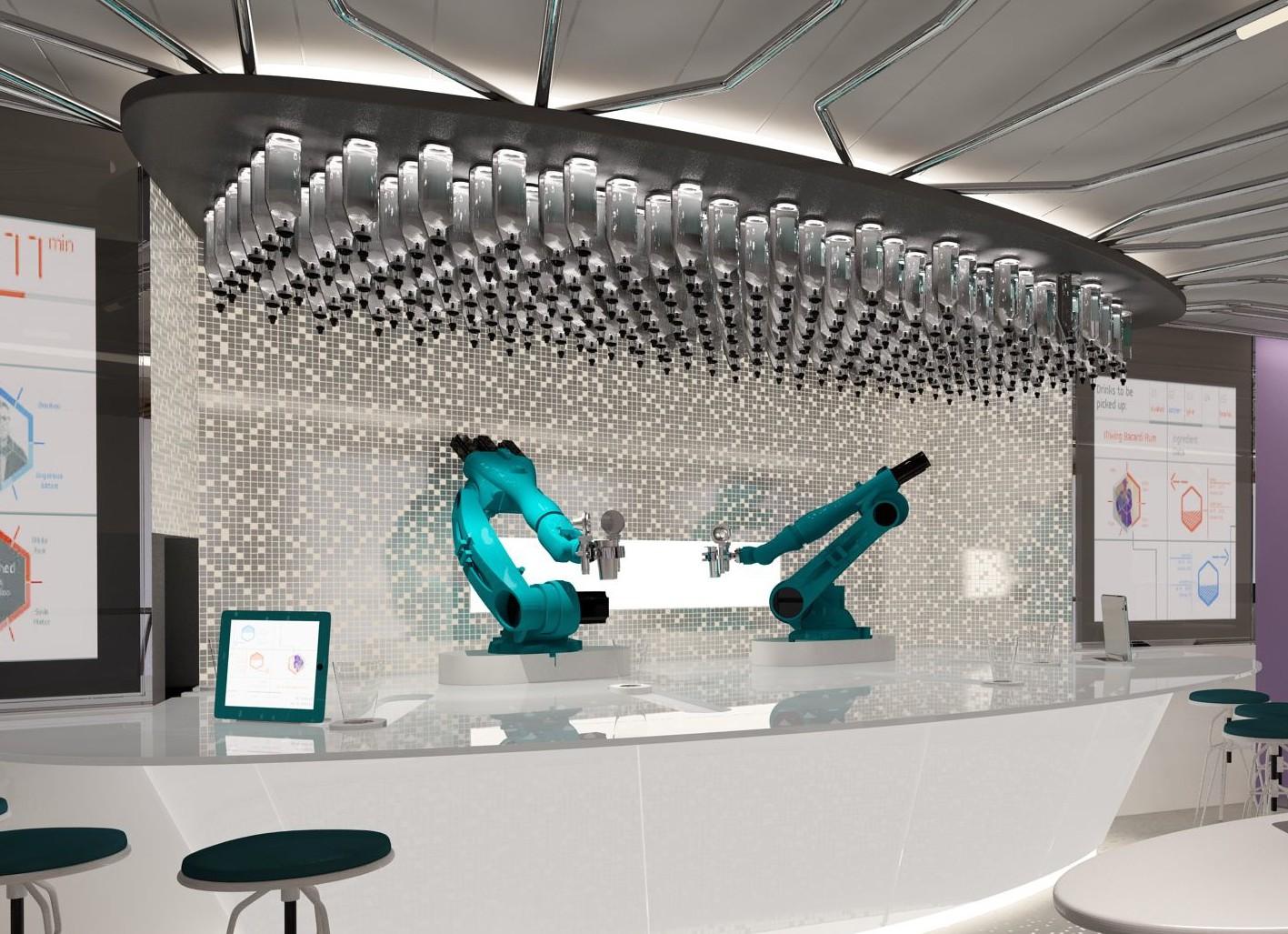 Metal bar: The robotic bar tenders prepare your cocktail